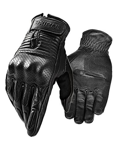 INBIKE Guantes Moto De Piel Cuero 100% con Buen Agarre Y Ventilacion, Guantes Motocicleta Vintage con Protecciones Profesional En Los Nudillos(IM805-Negro,L)