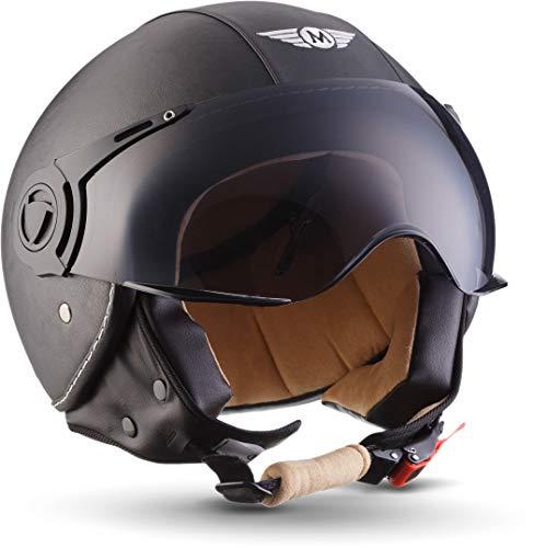 MOTO H44 - Leather black - Casco Cuero Cuero Moto Demi-Jet con Visera Vespa Scooter Piloto Jet negro - XL (61-62cm)