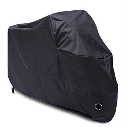 Material: de poliéster 190T resistente e impermeable, protección completa, estable y superdenso Dimensiones: 245 x 105 x 125 cm (funda), 345 x 250 x 55 mm (bolsa) Dos hebillas de cinturón en el medio y la parte inferior hacen que la funda sea más segura, por lo que el viento no lo arrastre. Un agujero en el borde inferior de la lona es ideal para candado de motocicleta Protege contra el sol, la lluvia, el viento, el polvo, los arañazos, la corrosión y los rayos UV 40+.
