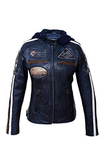 Chaqueta Moto Mujer de Cuero Urban Leather '58 LADIES', Cazadora Moto de Piel de Cordero, Armadura Removible para Espalda, Hombros y Codos Aprobada por la CE, Navy Azul, S (UR-176)