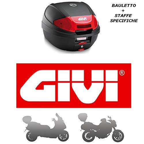 Givi - Baúl de 30 l E300N2 + Enganche SR5600M Monolock para Piaggio MP3 Yourban 125 2011 2018 con catalizadores Rojos