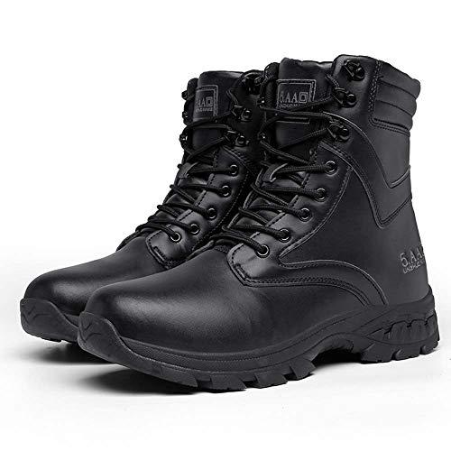 Bititger - Botas de desierto militares de piel, impermeables, con cremallera, botas tacticas y de combate para hombre, para patrullas, de seguridad, para policias, color Negro, talla 42 2/3 EU