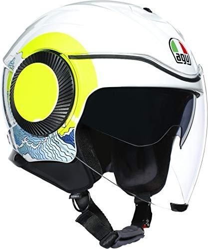 Orbyt es el casco jet AGV por excelencia, diseñado para ofrecer máximos niveles de confort, libertad y protección en el entorno urbano Marca: AGV Color sunset blanco/amarillo fluorescente Material: policarbonato