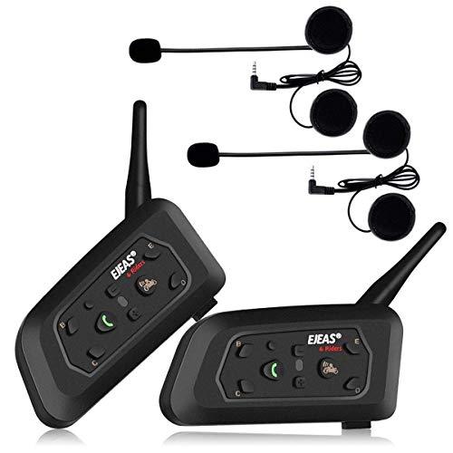 Ejeas V6Pro 2xAuriculares Intercomunicador Moto Bluetooth para Motocicletas, Gama Comunicacion Intercom de 1200m, intercomunicador Casco Moto, Impermeabilidad, Intercomunicacion Entre 6 Motociclistas