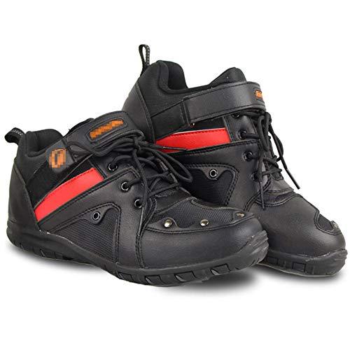DFGRFN Botas de Moto para Hombre,Zapatos de Jinete de Tobillo Corto Suave,Zapatos Impermeables para Motocicletas Todoterreno,Bota Deportiva de Motocross Protectora blindada,Black-43