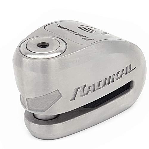 Radikal Rk910S Antirrobo Moto Disco Alarma de 120 db o10 Doble Cierre, Homologado Sra, Acero Inoxidable, 10 mm