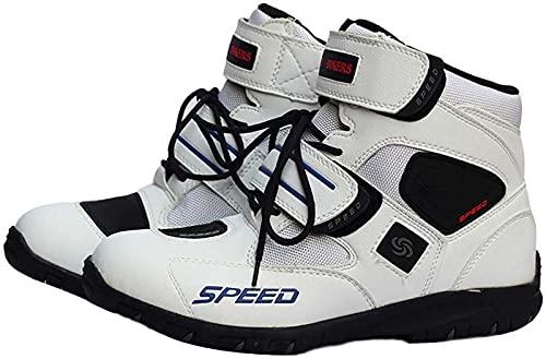 FGDFGDG Botas de Moto Calzado de Moto de Tobillo Corto Botas de Moto de Motocross Antideslizantes Resistentes al Desgaste,Blanco,39