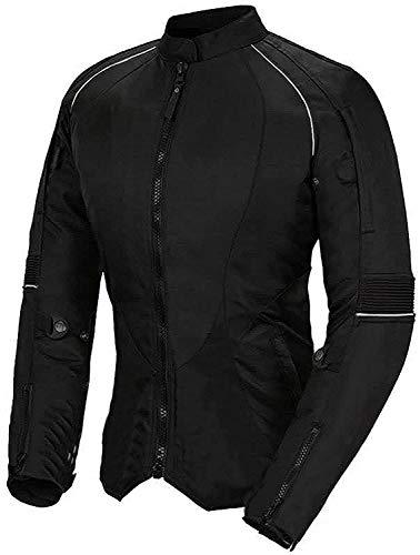 Newfacelook Chaqueta de moto para mujer de Codura impermeable con protecciones negro small