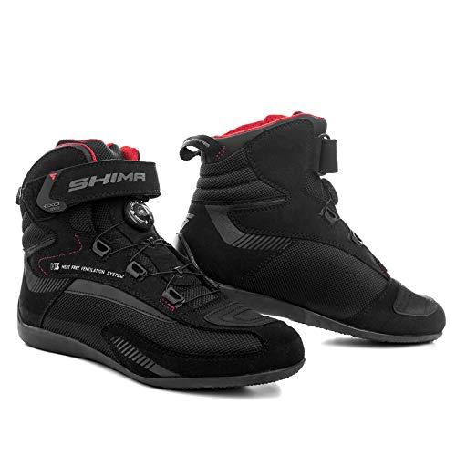 SHIMA EXO Vented, Botas Moto Hombre | Transpirables, Reforzados Zapatos Moto con sistema de cierre ATOP, Soporte Para el Tobillo, Suela Antideslizante, Mango de Cambio de Marchas, Negro, 47 eu