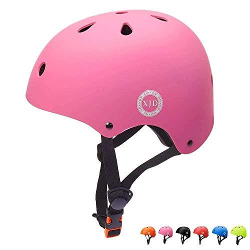 XJD Casco de Ciclismo para Ninos Ajustable y Resiste al Impacto Ventilacion con Muchos Colores -para Multideportivo Patineta Bicicleta Rollerskate Ciclismo (Rosa, S)
