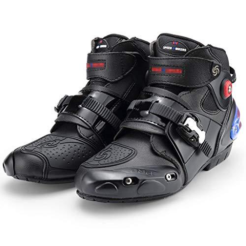 WERT Botas de Moto Bota de Motocross de Alta Resistencia blindada para Hombre Botas de Carretera Botas de Tobillo Cortas y Suaves Botas de piloto,Black-43