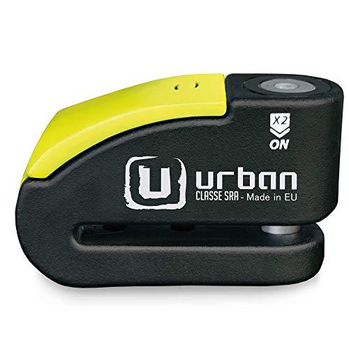 urban Security 999 candado antirrobo Disco con Alarma 120dba + Warning, Alta Seguridad Homologado CLASSE Sra, Eje 14 mm, Made in EU, Negro/Amarillo