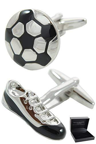 COLLAR AND CUFFS LONDON - Gemelos Caja DE Regalo - Balon De Futbol y Bota - Laton - Color Plata y Negro - Soccer - Sport Deporte Redonda Juego Football