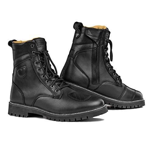 SHIMA Thomson Lady, Zapatos Moto Mujer, Reforzados Zapatos Moto de Cuero, Soporte para el tobillo, Suela Antideslizante, Mango de Cambio de Marchas (Negro, 38 EU)