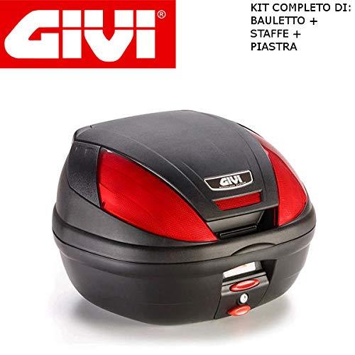 Baúl E370N + Enganche SR5600M Monolock Piaggio MP3 Yourban 125 2011 2018 Givi de 37 l con catalizadores Rojos