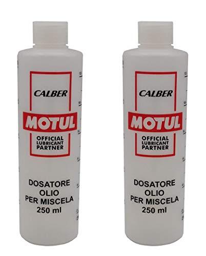 Motul - 2 medidores dosificadores de aceite para mezcla de 250 ml con tapón, escala graduada y porcentajes 2-4%, 2,5-5%, 3-6%