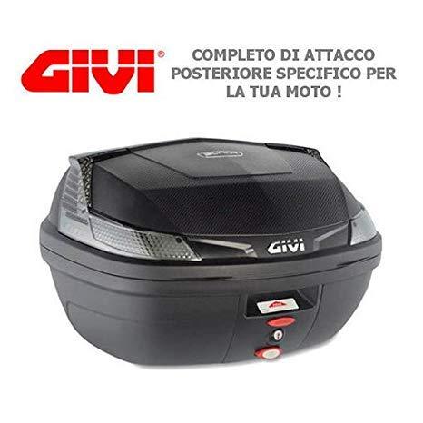 Givi - Baúl de 47 l B47NTML + Enganche SR5600M Monolock para Piaggio MP3 Yourban 125 2011 2018 con catalizadores Negros