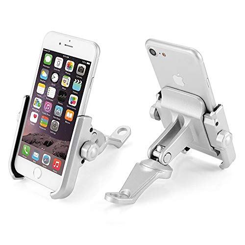 KASER Soporte Smartphone Universal Moto Espejo Retrovisor Rotacion de Aluminio para Motociclo Ciclomotor Scooter para Movil Navegador GPS (Espejo DE Plata)