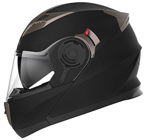 Casco Moto Modular ECE Homologado - YEMA YM-925 Casco de Moto Integral Scooter para Mujer Hombre Adultos con Doble Visera-Negro Mate-XL