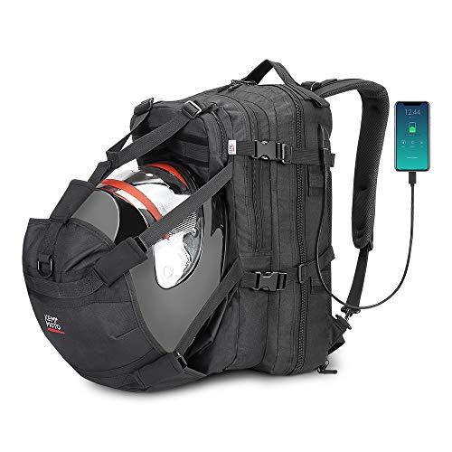 【Puerto de carga USB】: La mochila de la motocicleta se diseña de forma creativa con el puerto del cargador USB fuera de la bolsa, el cable de carga incorporado en el interior. Proporcionarle una forma más conveniente de cargar su teléfono. 【Mochila Rain Cover】 - Nuestra bolsa de casco con un diseño adicional de Rain Cover. A diferencia de otros, proporcionamos una mochila de alta resistencia al agua para usted como un paraguas, mantiene su bolso seco por dentro y por fuera. 【Gran funcionalidad】: Esta bolsa de equipo para motocicleta con un diseño adicional de soporte para casco, podría acomodar fácilmente cascos de cualquier tamaño. Como casco de moto, casco de esquí, casco de carreras, casco de moto de nieve, baloncesto. 【Mochila versátil】: Esta mochila está hecha de tela de poliéster resistente al agua y duradera. Sirve bien como una bolsa de trabajo de oficina profesional, una delgada mochila de carga USB, una mochila para estudiantes grandes de la escuela secundaria, una bolsa de equipaje para viajes en motocicleta. 【Gran capacidad】: Hay dos espacios de almacenamiento principales para el almacenamiento en la bolsa, brindan un espacio de gran capacidad para almacenar pantalones de montar, guantes, botas, chaqueta, equipaje, libro, computadora portátil, equipo de gimnasio.