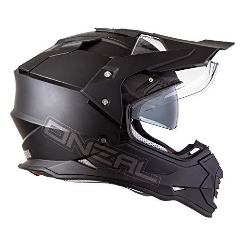 O'Neal   Casco de moto   Moto Enduro   Aberturas de ventilacion para el maximo flujo de aire y refrigeracion, carcasa de ABS, visera solar integrada   Casco Sierra II   Adultos   Negro   Talla L