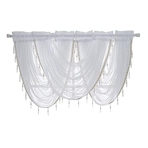 ANCLLO 3 paneles blanco sólido cascada cenefa ventana cortina de lino textura barra bolsillo con borla accesorios para salón y dormitorio cortina 145 x 94 cm