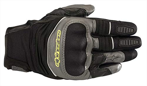 Guantes de Moto Alpinestars Crosser Air Touring Glove Black Anthracite Yellow Fluo, Negro/Gris/Amarillo neón, M