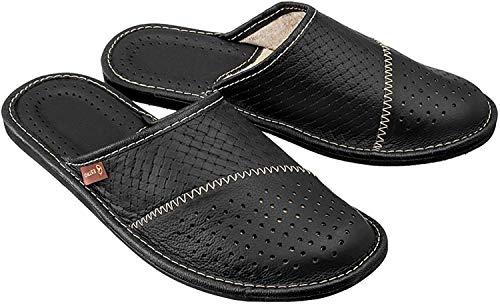 ESTRO Zapatillas De Casa De Hombre Pantuflas Casa Hombre Piel Genuina M55 (44 EU, Negro)