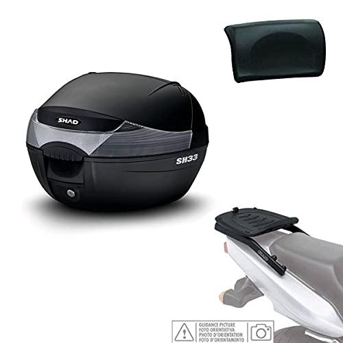 Kit-shad-1065 - Kit fijacion y Maleta baul Trasero + Respaldo Pasajero Regalo sh33 Compatible con Piaggio mp3 yourban 2011-2016