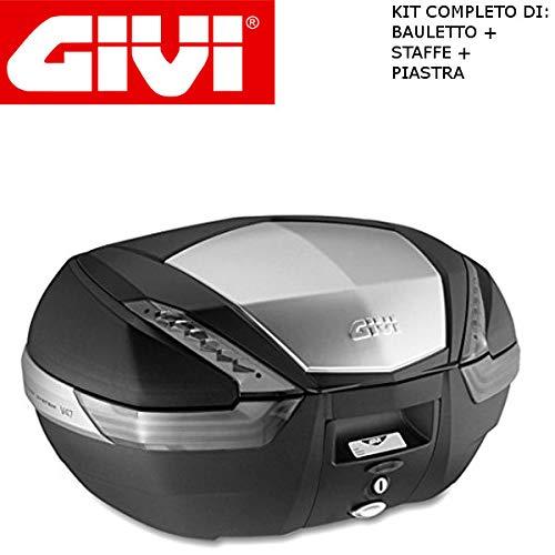 Givi - Baúl de 47 l V47NT + Enganche SR5600 Monokey Piaggio MP3 Yourban 300 2011 2018 con Acabado de Aluminio y catalizadores ahumados