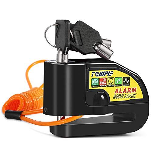 Tchipie Candado Moto con 110dB Alarma, Antirrobo Candado de Disco Moto con 1.5M Cable para Moto Motos Bicicletas, Impermeable Candado Motocicleta, Negro