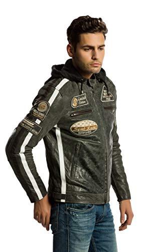 Chaqueta Moto Hombre en Cuero Urban Leather '58 GENTS' | Chaqueta Cuero Hombre | Cazadora de Moto de Piel de Cordero | Armadura Removible para Espalda, Hombros y Codos Aprobada CE |Breaker | L