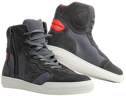 Dainese Metropolis Shoes Zapatos Moto, Carbon/Rojo Fluo, 45 EU