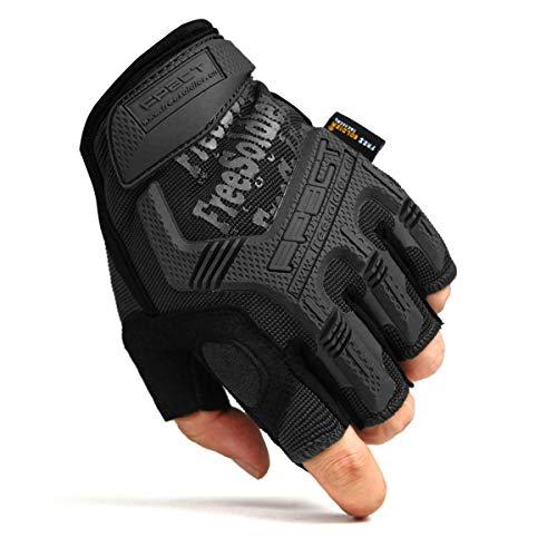 Material Perfecto -Los guantes consisten en un tejido de nylon elástico resistente al desgaste de alta calidad, ideal para motocicletas. El protector rígido de goma para los nudillos es lo suficientemente duradero como para proteger sus manos de los arañazos en los deportes y actividades. Protección Fuerte - Los guantes de ciclismo utilizan principalmente goma plástica resistente al desgaste. La protección rígida de goma de los nudillos en los guantes podría proteger nuestras manos de golpes y rasguños. El acolchado de la palma con EVA absorbe el impacto y la vibración, ideal para los deportes de airsoft. Los guantes de ciclismo con diseño ergonómico pueden adaptarse perfectamente a tus manos. Diseño único - Los guantes de ciclismo con correa de pueden ajustarse libremente según su muñeca. Y la correa no se aflojará mientras se practica ciclismo o paintball en exteriores. Los materiales compuestos resistentes a la abrasión son excelentes antideslizantes. Ambos son transpirables, flexibles, excelente amortiguación, agarre resistente y duradero. Múltiples Opciones - Los guantes Airsoft poseen un dedo completo y medio con tres colores: negro clásico, marrón y verde de moda y cuatro tamaños: S, M, L, XL para elegir.Solo consulte la tabla de tallas Si está confundido sobre el tamaño o por favor contáctenos para servirle. Servicio & Función - Calidad garantizada por al menos 3 meses de garantía. No dude en enviarnos un correo electrónico si tiene alguna pregunta, le responderemos dentro de las 24 horas. Estos guantes sin dedos y con dedos completos son perfectos para ciclismo, motocicleta, airsoft, paintball , actividades de trabajo y otras actividades al aire libre como escalada, senderismo, camping, equitación, conducción, tiro, caza.