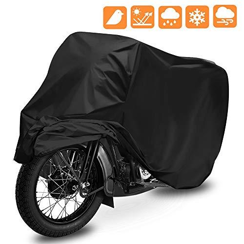 【Práctico】la cubierta universal impermeable para motocicletas puede proteger las motocicletas de la lluvia, el sol (UV), el polvo, también puede prevenir arañazos. Muy útil para aparcar motos al aire libre. 【Materiales de Calidad】Funda para Moto fabricada con tejido 190T nylon de alta calidad, que es más resistente a la intemperie, a rasgaduras y más resistente al desgaste que el material de nylon 180T normal. La costura de la cubierta de la moto utiliza costura de doble hilo, que es más efectiva contra la lluvia. 【Estable Funda para Moto】La tela es muy ligera, pero la hebilla de sujeción es resistente, muy conveniente para evitar que el viento levanta la tela en sí desde el suelo. 【Portátil】Ligero y fácil de almacenar. Cuando no la utiliza, puede plegarla directamente y ponerla en la bolsa de almacenamiento que regalamos. 【Tamaño universal】aproximadamente 245x105x125cm, adecuado para la mayoría de las motocicletas, motos y scooters.