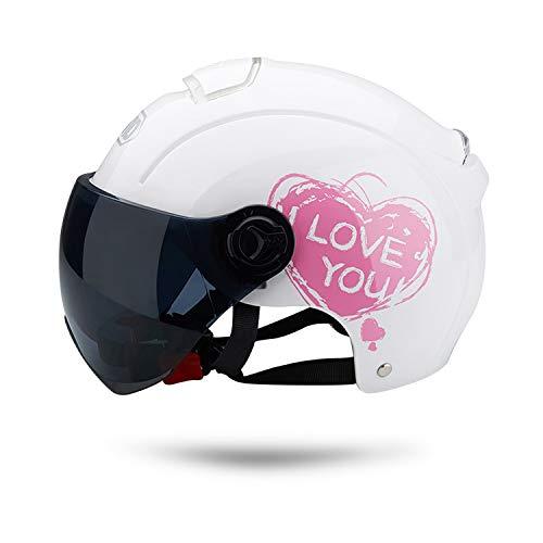 Galatee Cascos de Motocicleta Para Hombres y Mujeres, Ciclomotor Cascos Con Visera Reflectante.El cabezal anticolision protege la seguridad vial de los usuarios(Blanco)