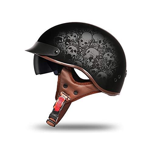 Fashion Helmet-Los medios cascos de motocicleta para hombres y mujeres son cascos de motocicleta ideales, adecuados para aquellos que desean un casco más cómodo, elegante, compacto, liviano, personalizable y completamente funcional. Lentes de contacto resistentes al desgaste: protección solar nocturna, antideslumbrante, resistente a los arañazos, protección solar, desmontable Material: carcasa de ABS ligero, amortiguación de EPS de alta densidad. Fácil de limpiar, no deformado, ventilado, seco, transpirable, fácil de tratar, varía según el clima Ámbito de aplicación: motocicletas, motocicletas, motocicletas, cruceros, helicópteros, helicópteros, jets, pilotos, adultos, jóvenes, cascos de viaje para hombres y mujeres. Seguridad: cumple o supera el estándar de seguridad estadounidense DOT FMVSS 218 y está diseñado con un forro de EPS grueso, de alta densidad y totalmente ventilado, que puede absorber en gran medida el impacto.