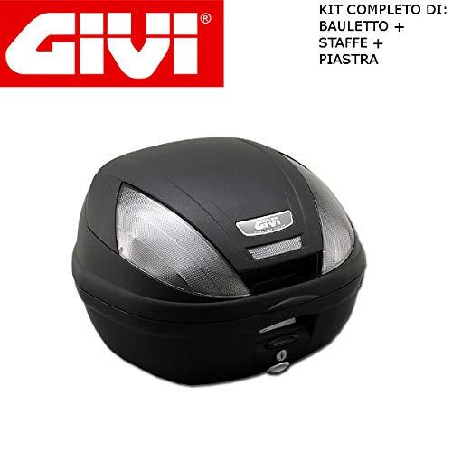 Baúl E370NT + Enganche SR5600M Monolock Piaggio MP3 Yourban 125 2011 2018 Givi de 37 l con catalizadores Negros