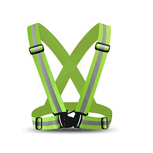 Dihope, chaleco reflectante y brazalete reflectante para bicicleta de alta visibilidad para correr, andar o moto amarillo Talla unica