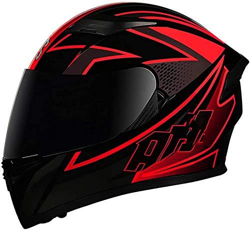 Casco De Moto Con Doble Visera, Certificacion ECE Adultos Modular Integral Casco Moto Para Ciclomotor Motocicleta Y Scooter Mujer Hombre Verde Rojo Negro 1, L=(59~60CM)