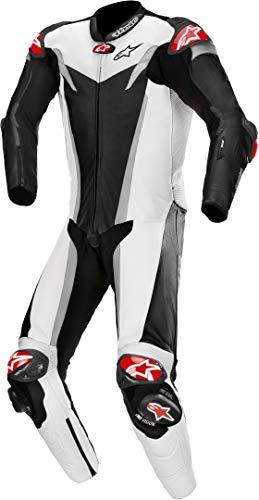 Alpinestars Traje de moto GP Tech v3 Tech-Air de 1 pieza perforado de cuero negro, blanco y cromo 50