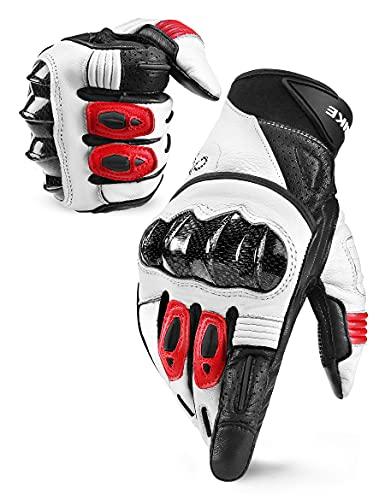 ◆【EL CUERO DE LA CABRA】◆: Nuestros guantes con buen acabado están hechos de cuero de la cabra de alta calidad, son suaves y agradables al tacto, no hay costuras internas que molesten, se adaptan perfectamente a las manos ◆【ALMOHADILLAS DE 3 MM EVA Y SILICONAS ANTIDESLIZANTES】◆: La palma con buenas almohadillas de 3 mm EVA para amortiguar la presión y permite montar en moto durante mucho tiempo sin molestias por el manillar.Las siliconas antideslizantes de la parte de la palma de la mano hacen que tenga buen agarrelos y hace muy cómodos en el manillar, el agarre es firme y no resbala ◆【LA FUNCIONALIDAD DE PANTALLA TÁCTIL】◆: El pulgar de los guantes de motocross tiene la función de pantalla táctil, tu puedes utilizar el smartphone sin la necesidad de quitartelos. Y cierre de belcro en la muñeca, puedes ajustar la anchura del tamaño de la muñeca con los belcros laterales ◆【DOBLE PROTECCIÓN】◆: INBIKE guantes de moto hay una cáscara protectora de fibra de carbono para proteger los nudillos, además, hay tienen una protección especial para los dedos que evita que sus manos se lesionó en caso de caída u otra situación peligrosa ◆【UN AÑO GARANTÍA DE SERVICIO】◆: Cada guante de motocicleta vendido ha sido sometido a rigurosas pruebas de calidad. Si tiene alguna pregunta, comuníquese con nosotros y le responderemos dentro de las 24 horas. ¡ Los derechos de nuestros clientes están totalmente protegidos!