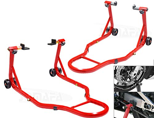 Caballete de Moto Soporte Delantero y Trasero Universal Portatil Tipo Elevador, Acero
