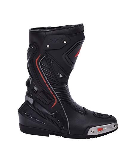 Botas de moto Hombre, botas de cuero deportivas, impermeables, de cuero, protectores rígidos integrados estables, con protección de tobillo, negro - 44