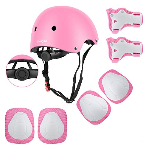 Wayin Conjuntos de Patinajes Ninos Protecciones Patines Infantiles con Casco Ajustables Rodilleras y Coderas para Skate Bicicleta Monopatin Deporte(Rosa)