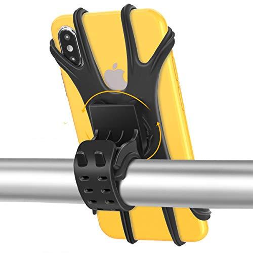 Soporte Teléfono Móvil Bicicleta, Soporte Motocicleta con Rotación 360°, Soporte Universal Anti Vibración Manillar de Silicona para iPhone12 Mini,12 11 Pro,Xs Max, X,Samsung,4.0-6.5