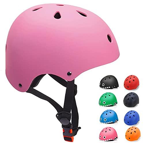 KORIMEFA Casco Bicicleta para Ninos Casco Infantil Ajustable para Monopatin Patinaje BMX Esquiar, Casco para multibles Deportes nino nina de Edad de 3-13 anos (Rosa, Small)
