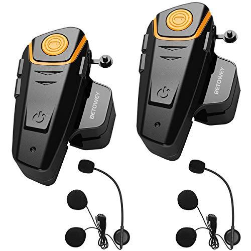 Bluetooth para Casco Moto - El sistema de intercomunicación con casco BT-S2 lo ayuda a comunicarse de manera eficiente y conveniente con una alta velocidad de hasta 100-120 km / h (60-75 mph), distancia máxima de hasta 800 m (875 yardas), 3 jinetes pueden ser emparejados y 2 jinetes pueden hablar al mismo tiempo. Función Profesional y Poderosa - Mientras conduce, puede hacer o recibir llamadas con manos libres, escuchar música en estéreo, radio FM o usar la navegación GPS. Todas las funciones se pueden cambiar libremente. También suministre una toma de audio de 2,5 mm como conexión por cable, para que pueda conectar el BT-S2 al teléfono celular, tableta, GPS u otros dispositivos para transferir la música / voz al auricular. (Cable de audio de 2,5 mm incluido) Resistente al Agua y Cancelación de Ruido - Excelente diseño impermeable, incluso si está lluvioso o con nieve, no afectará el uso, no hay que preocuparse por el clima. La cancelación de eco DSP y la tecnología de supresión de ruido garantizan una calidad de voz clara a alta velocidad. Fácil Instalación y Operación - Funciona con cualquier casco integral y con la mayoría de los cascos de media cara. Los auriculares BTS2 pueden instalarse mediante clip o adhesivo. Botones grandes que son fáciles de operar, incluso si usas guantes cuando montas.
