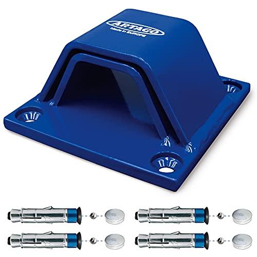 Artago 61 Anclaje Suelo Alta Seguridad Doble Puente 6+6 Homologado Sold Secure, Tacos Especiales Blindados, Base de 10mm, Azul