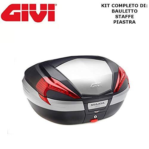 Baúl V56N + Enganche SR5600 Monokey Piaggio MP3 Yourban 125 2011 2018 Givi de 56 l Maxia 4 catalizadores Rojos y Acabado en Aluminio